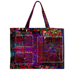 Technology Circuit Board Layout Pattern Medium Zipper Tote Bag by BangZart