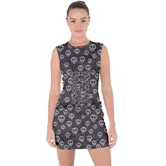 Skull Halloween Background Texture Lace Up Front Bodycon Dress