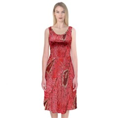 Red Peacock Floral Embroidered Long Qipao Traditional Chinese Cheongsam Mandarin Midi Sleeveless Dress