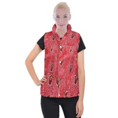 Red Peacock Floral Embroidered Long Qipao Traditional Chinese Cheongsam Mandarin Women s Button Up Puffer Vest