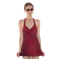 Red Dark Vintage Pattern Halter Swimsuit Dress