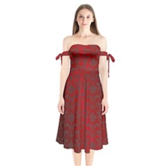 Red Dark Vintage Pattern Shoulder Tie Bardot Midi Dress