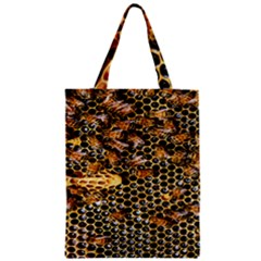 Queen Cup Honeycomb Honey Bee Zipper Classic Tote Bag by BangZart