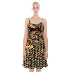 Queen Cup Honeycomb Honey Bee Spaghetti Strap Velvet Dress