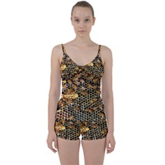 Queen Cup Honeycomb Honey Bee Tie Front Two Piece Tankini