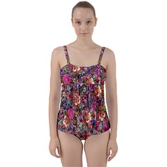 Psychedelic Flower Twist Front Tankini Set