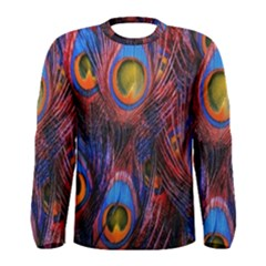 Pretty Peacock Feather Men s Long Sleeve Tee