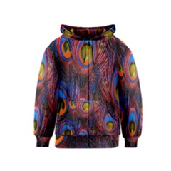 Pretty Peacock Feather Kids  Zipper Hoodie