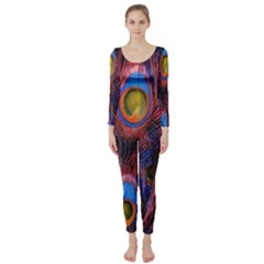 Pretty Peacock Feather Long Sleeve Catsuit