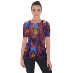 Pretty Peacock Feather Short Sleeve Top
