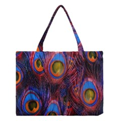 Pretty Peacock Feather Medium Tote Bag by BangZart