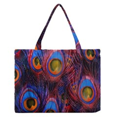 Pretty Peacock Feather Medium Zipper Tote Bag by BangZart