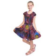 Pretty Peacock Feather Kids  Short Sleeve Dress by BangZart