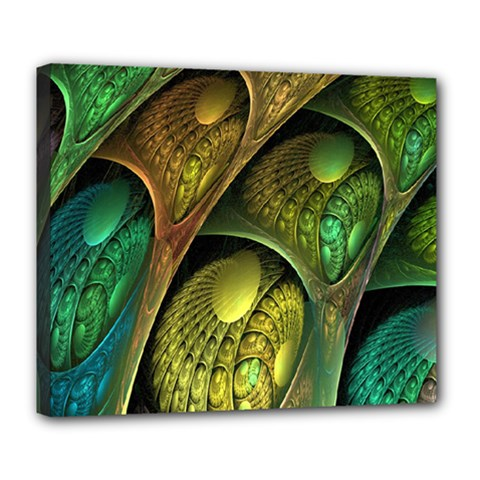 Psytrance Abstract Colored Pattern Feather Deluxe Canvas 24  X 20   by BangZart