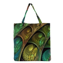 Psytrance Abstract Colored Pattern Feather Grocery Tote Bag
