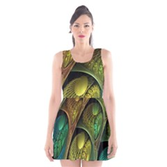 Psytrance Abstract Colored Pattern Feather Scoop Neck Skater Dress