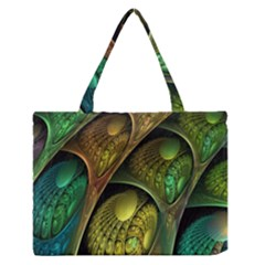 Psytrance Abstract Colored Pattern Feather Medium Zipper Tote Bag by BangZart