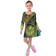 Psytrance Abstract Colored Pattern Feather Kids  Long Sleeve Velvet Dress by BangZart