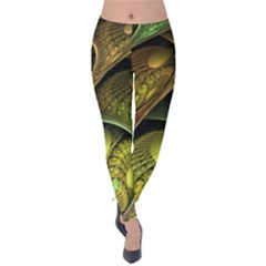 Psytrance Abstract Colored Pattern Feather Velvet Leggings