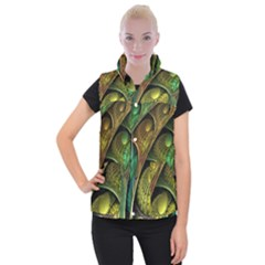 Psytrance Abstract Colored Pattern Feather Women s Button Up Puffer Vest