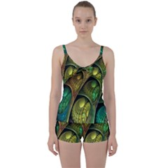 Psytrance Abstract Colored Pattern Feather Tie Front Two Piece Tankini