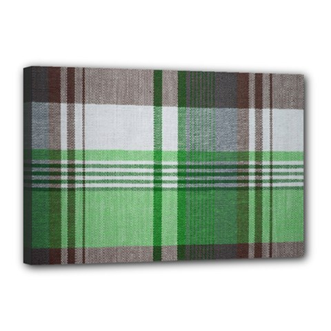 Plaid Fabric Texture Brown And Green Canvas 18  X 12  by BangZart