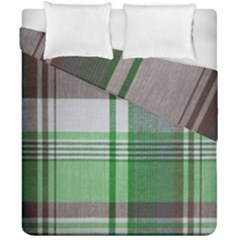 Plaid Fabric Texture Brown And Green Duvet Cover Double Side (california King Size) by BangZart