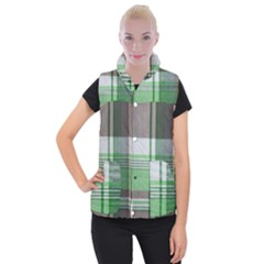 Plaid Fabric Texture Brown And Green Women s Button Up Puffer Vest
