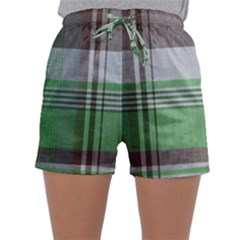 Plaid Fabric Texture Brown And Green Sleepwear Shorts