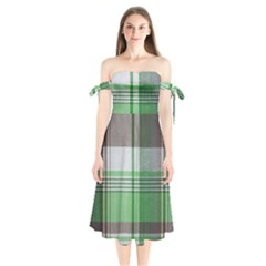 Plaid Fabric Texture Brown And Green Shoulder Tie Bardot Midi Dress