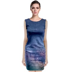 Galaxy Nebula Astro Stars Space Sleeveless Velvet Midi Dress by paulaoliveiradesign