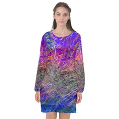 Poetic Cosmos Of The Breath Long Sleeve Chiffon Shift Dress