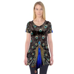Peacock Short Sleeve Tunic  by BangZart
