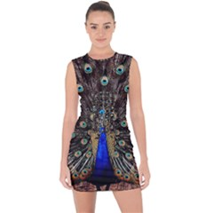 Peacock Lace Up Front Bodycon Dress