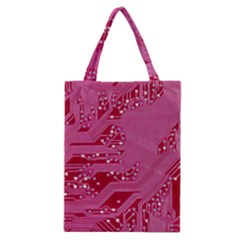 Pink Circuit Pattern Classic Tote Bag by BangZart