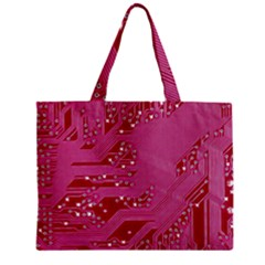 Pink Circuit Pattern Zipper Mini Tote Bag by BangZart