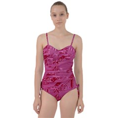 Pink Circuit Pattern Sweetheart Tankini Set
