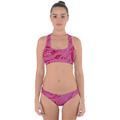 Pink Circuit Pattern Cross Back Hipster Bikini Set by BangZart