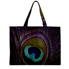 Peacock Feather Zipper Mini Tote Bag by BangZart