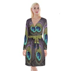 Peacock Feather Long Sleeve Velvet Front Wrap Dress