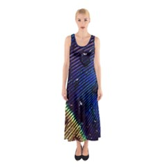 Peacock Feather Retina Mac Sleeveless Maxi Dress