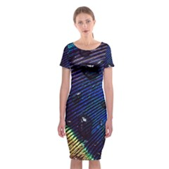 Peacock Feather Retina Mac Classic Short Sleeve Midi Dress
