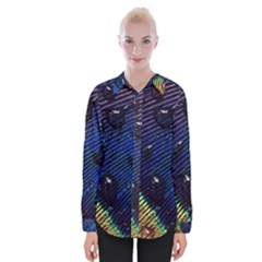 Peacock Feather Retina Mac Womens Long Sleeve Shirt