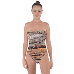 Natural Wood Texture Tie Back One Piece Swimsuit
