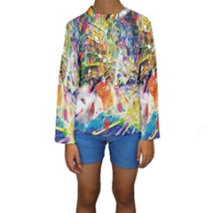 Multicolor Anime Colors Colorful Kids  Long Sleeve Swimwear