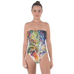 Multicolor Anime Colors Colorful Tie Back One Piece Swimsuit
