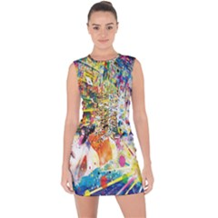 Multicolor Anime Colors Colorful Lace Up Front Bodycon Dress