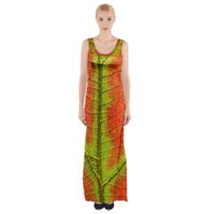 Nature Leaves Maxi Thigh Split Dress