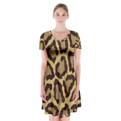 Leopard Short Sleeve V Neck Flare Dress by BangZart