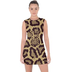 Leopard Lace Up Front Bodycon Dress